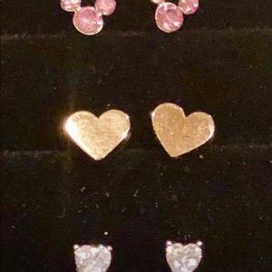 Other - 3 PAIRS Girls CRYSTAL HEARTS MICKEY MOUSE STUDS